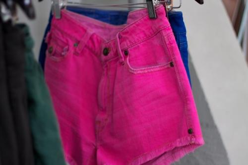 Jimmy Taverniti hot pink denim cutoff shorts