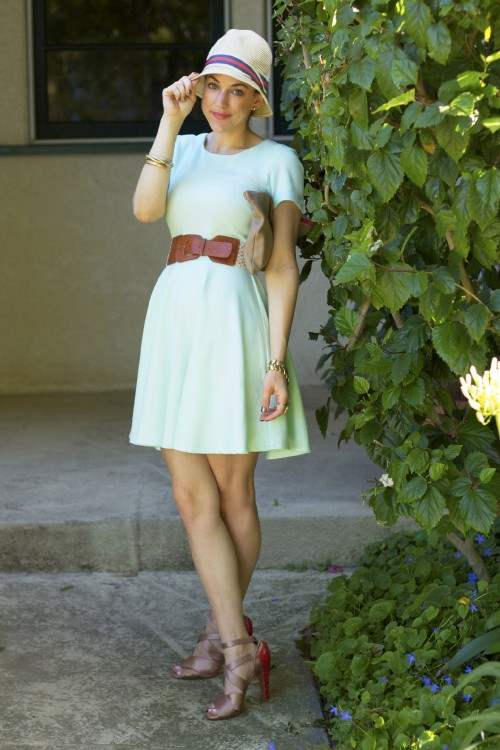 mint dress fedora style outfit